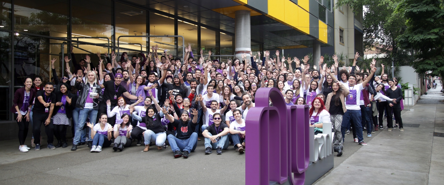 Part of the Nu team in the esplanade of the Nubank headquarters in Sao Paulo, Brazil.