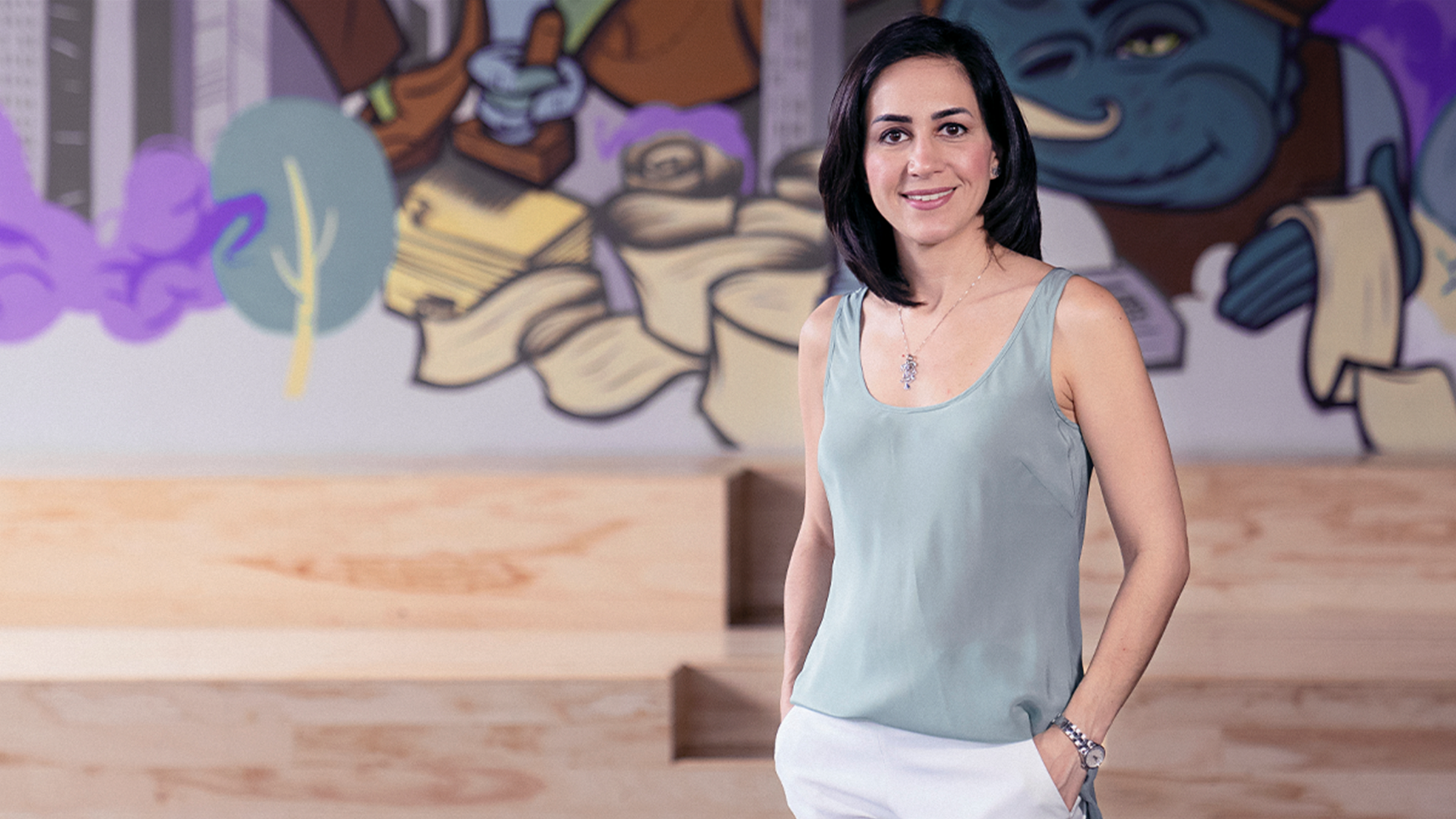 Cristina Junqueira, co-founder of Nubank, poses in the headquarters of the company in São Paulo, Brazil.