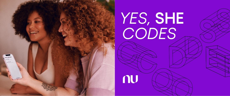 Women coding at Nubank. Yes, She Codes! Nubank's software engineering women's exclusive hiring program.
